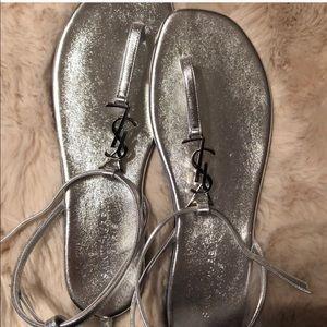YSL Monogram Monochrome Silver Napa Thong Sandal
